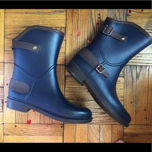 RARE PUMA NAVY BROWN Gold Buckle PREPPY Rain Boots